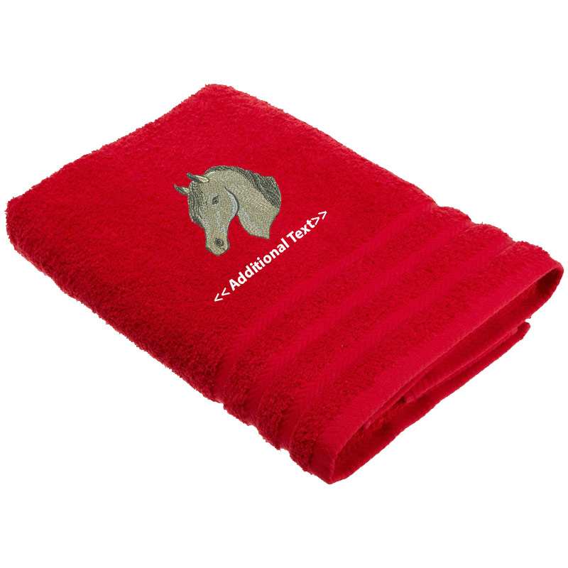 Embroidered Terry Cloth Hand Towels: Personalised Horses Head Custom Embroidered Terry Cotton Towel