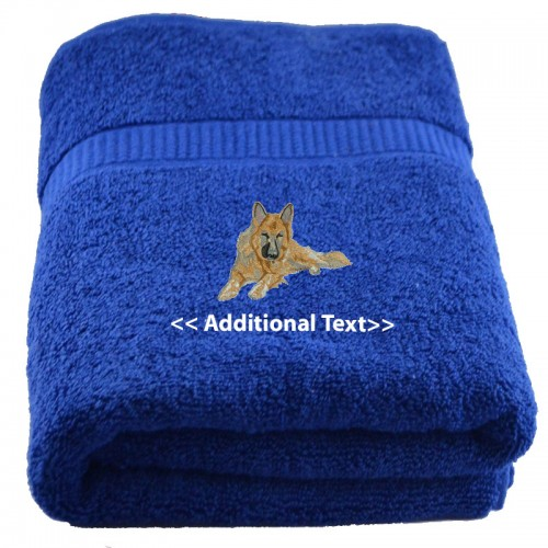 Embroidered Towels Custom: Personalised Alsatian Custom Embroidered Terry Cotton Towel