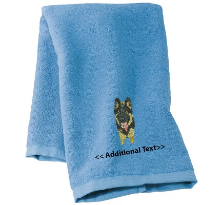 Personalised Alsation   Custom Embroidered Terry Cotton Towel