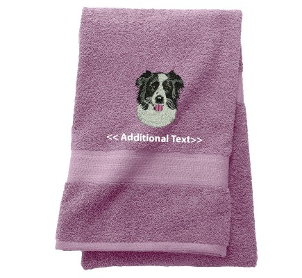Personalised Border Collie Custom Embroidered Terry Cotton Towel