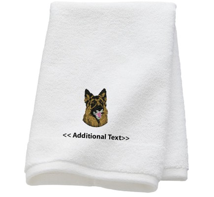 Personalised German Shepherd Custom Embroidered  Terry Cotton Towel