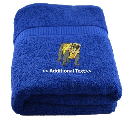 Personalised British Bulldog Custom Embroidered Terry Cotton Towel