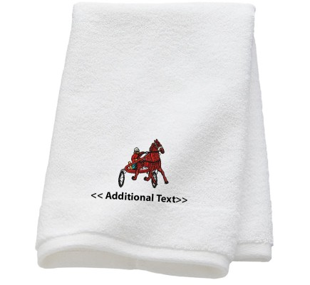 Personalised Horse & Cart Custom Embroidered  Terry Cotton Towel