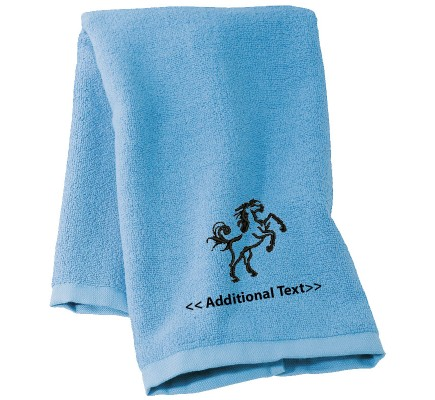 Personalised Horse Motif Custom Embroidered  Terry Cotton Towel