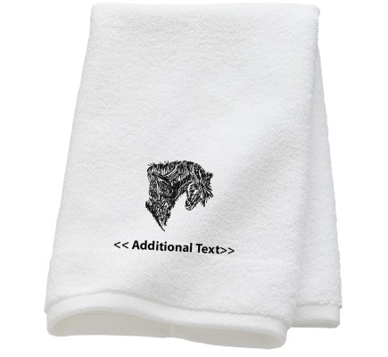 Personalised Horse Sketch Custom Embroidered  Terry Cotton Towel