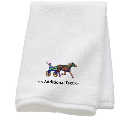 Personalised Horse and Cart Custom Embroidered  Terry Cotton Towel