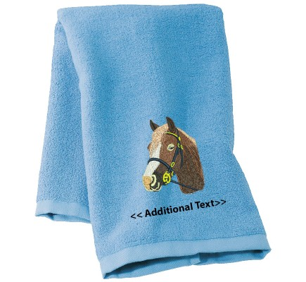 Personalised Horse Custom Embroidered  Terry Cotton Towel
