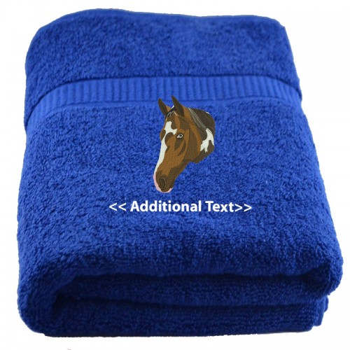 Embroidered Terry Cloth Hand Towels: Personalised Horse Custom Embroidered Terry Cotton Towel
