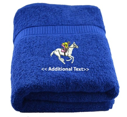 Personalised Horse Rider Custom Embroidered  Terry Cotton Towel