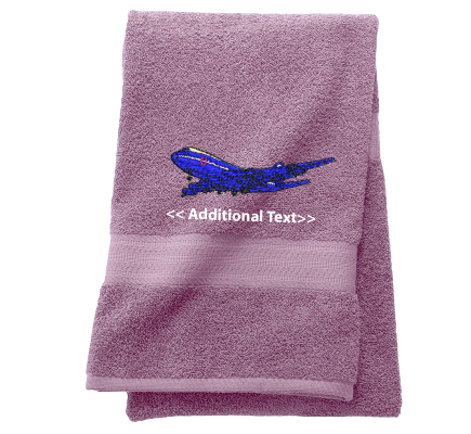 Personalised Plane Custom Embroidered Terry Cotton Towel