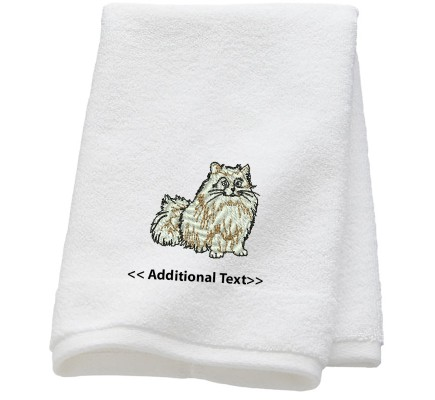 Personalised Cat  Custom Embroidered Terry Cotton Towel