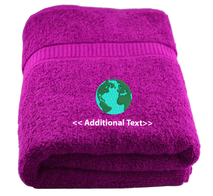 Personalised Earth Custom Embroidered Terry Cotton Towel