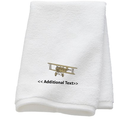 Personalised Old Aircraft  Custom Embroidered Terry Cotton Towel
