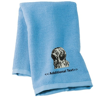 Personalised Briard Dog Custom Embroidered Terry Cotton Towel