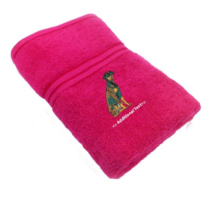 Personalised  Doberman Custom Embroidered Terry Cotton Towel