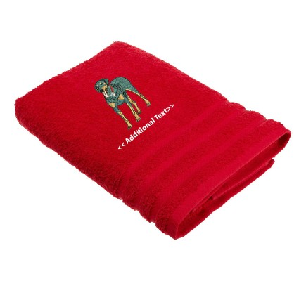 Personalised Doberman Dog Custom Embroidered Terry Cotton Towel