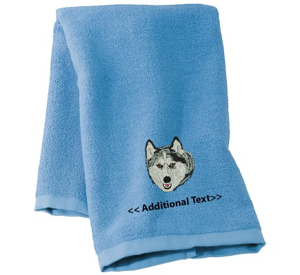 Personalised Husky Custom Embroidered  Terry Cotton Towel