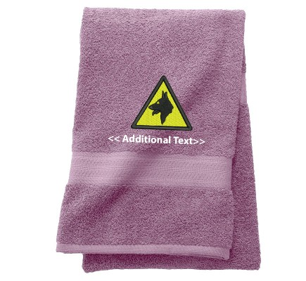 Personalised Warning Dogs Custom Embroidered  Terry Cotton Towel