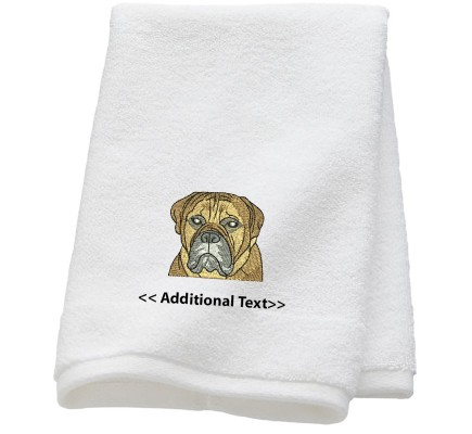 Personalised Bulldog  Custom Embroidered Terry Cotton Towel