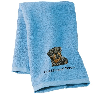Personalised Rottweiler Custom Embroidered  Terry Cotton Towel
