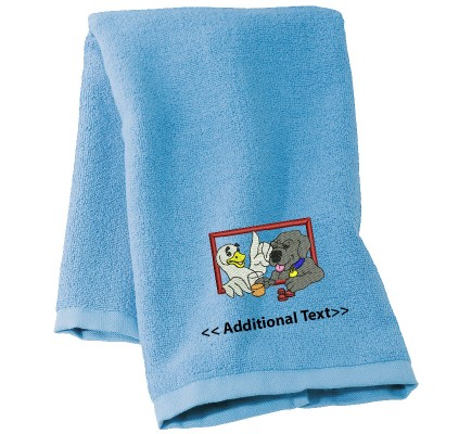 Personalised A Dog and a Duck  Custom Embroidered Terry Cotton Towel