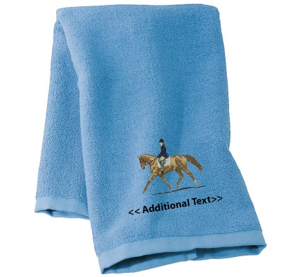 Personalised Dressage Horse Large Custom Embroidered  Terry Cotton Towel