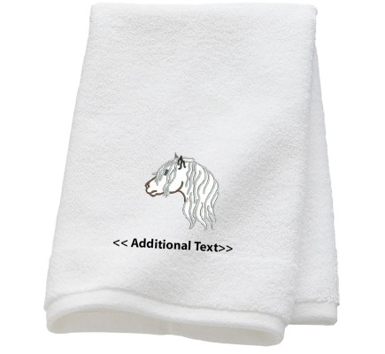 Personalised Highland Ponies Outline Custom Embroidered  Terry Cotton Towel