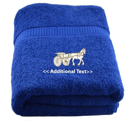 Personalised Horse and Cart Large Custom Embroidered  Terry Cotton Towel