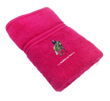 Personalised Horse and Rider Large Custom Embroidered  Terry Cotton Towel