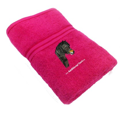 Personalised Horses Head Large Custom Embroidered  Terry Cotton Towel