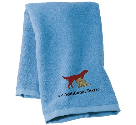 Personalised Cat and a Dog  Custom Embroidered Terry Cotton Towel