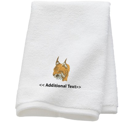 Personalised Wild Cat   Custom Embroidered Terry Cotton Towel