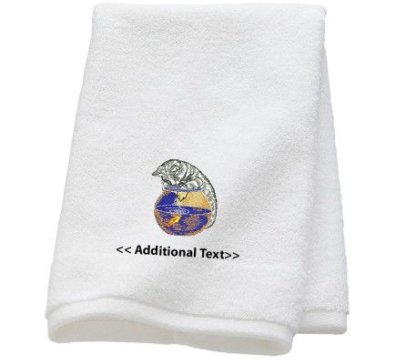 Personalised Cat and a Fish Bowl  Custom Embroidered Terry Cotton Towel
