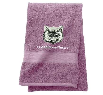 Personalised Cat Head  Custom Embroidered Terry Cotton Towel