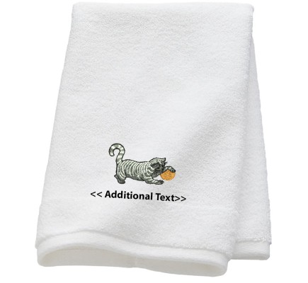 Personalised Cat with a Ball of String Custom Embroidered Terry Cotton Towel