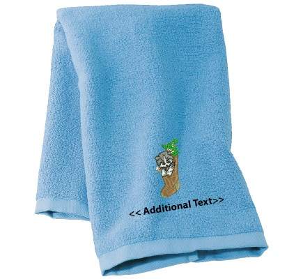 Personalised Kitten in a Stocking  Custom Embroidered Terry Cotton Towel