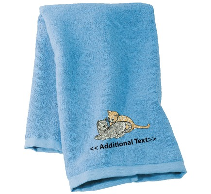 Personalised Kittens  Custom Embroidered Terry Cotton Towel