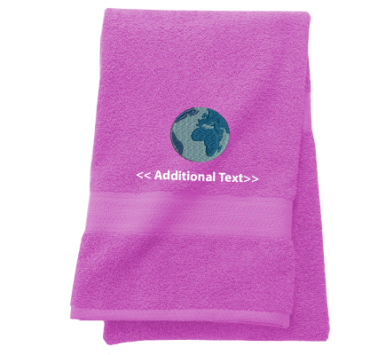 Personalised Globe Custom Embroidered Terry Cotton Towel