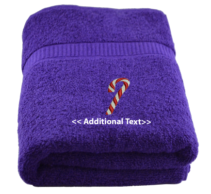 Personalised Candy Cane  Seasonal Towels Terry Cotton Towel