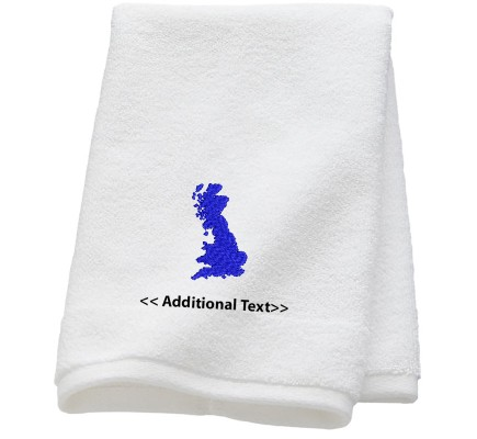 Personalised UK Map Custom Embroidered Terry Cotton Towel