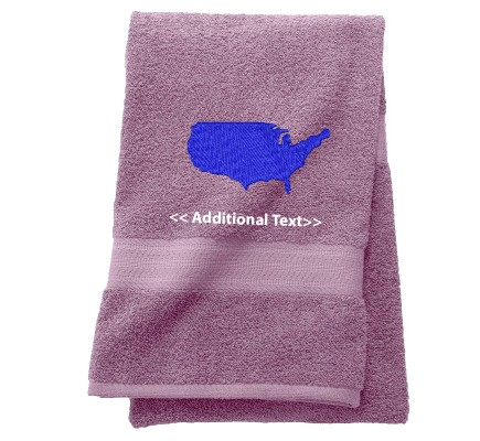 Personalised USA Map Custom Embroidered Terry Cotton Towel