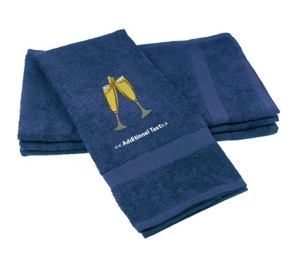 Personalised Champagne Glasses  Gift Towels Terry Cotton Towel