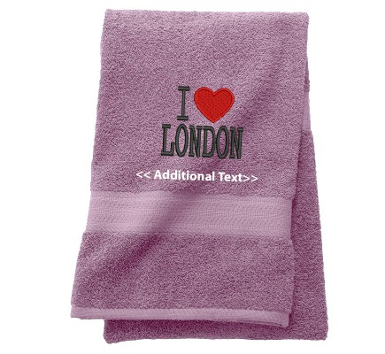 Personalised I Love London Custom Embroidered Terry Cotton Towel