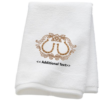 Personalised Horse Shoe Wedding Towel Terry Cotton Towel