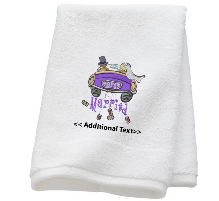Personalised Just Married Wedding Towel Terry Cotton Towel