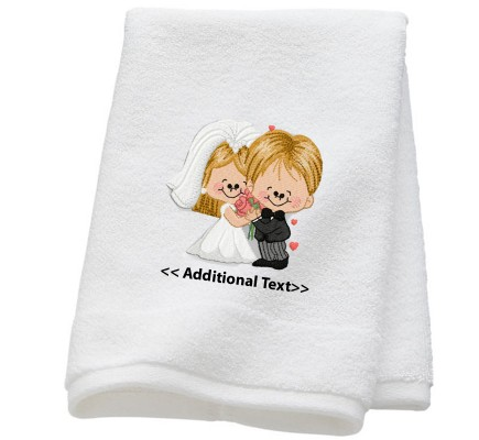 Personalised Twin Face Wedding Towel Terry Cotton Towel
