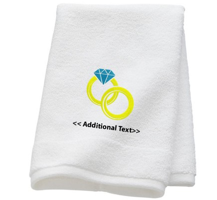 Personalised Twin Rings Wedding Towel Terry Cotton Towel